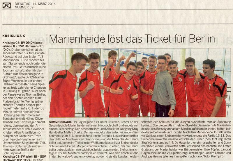 Marienheide löst das Ticket für Berlin